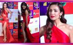 Malaika Arora stun in Thigh High slit Red gown at red carpet of Zee Cine Awards