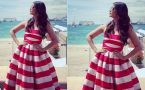Aishwarya Rai Bachchan looks beautiful in red & white striped dress