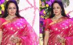 Hema Malini looks in Pink Saree at Sooraj's son Devaansh reception