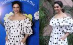 Deepika Padukone Looks Stunning In Her black and white polka dot maxi with a retro hairdo