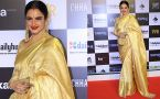 Rekha looks regal in a bling golden saree at Chhapaak premiere