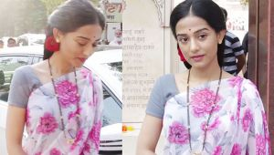 Amrita Rao looks perfect in floral print pink & white saree; Watch Video