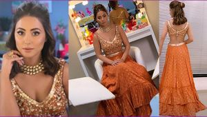 Hina Khan stuns in Orange Lehenga is MUST Watch; Check out