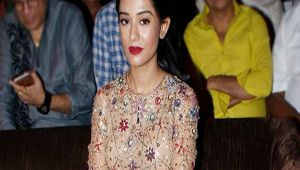 Amrita Rao looks beautiful in a peach dress at the music launch of Thackeray
