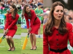 Kate Middleton Plays Cricket Red Dress