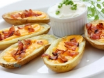 Fried Potato Skins With Cheese & Bacon Recipe