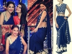 Madhuri Dixit Dazzles In Blue Saree