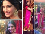 Sonam Kapoor Looks Pretty In Pink Saree