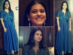 Kajol Looks Sauve In Denim Anarkali