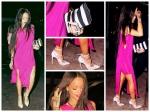 Rihanna Goes Pink In Revealing Fuchsia Dress