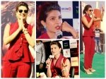 Priyanka Chopra Rocks In Red Selvage Suit