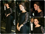 Pregnant Kate Middleton In Black Lace Gown