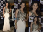 Sania Mirza In Metallic White Gown At Sony Event