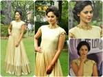 Bindu Madhavi Dresses Like Cinderella For Movie Press Meet