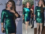 Rakhi Sawant Looks Like A Glitter Ball In Short Dress