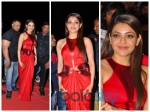 Kajal Aggarwal Sparkles In A Red Amit Aggarwal Gown