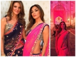 Nicole Scherzinger Wears A Hot Pink Saree For Indian Wedding