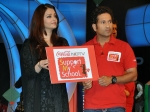 Aishwarya and Sachin at 'Support My School' campaign