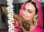 Sana Khan's Beautiful Pictures From Her Mehendi Ceremony In Orange And Pink Suit Will Melt You Heart