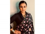 Vidya Balan Looks Graceful In Her Floral Black Saree And Silver Jewellery