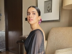 Pagglait Promotions: Sanya Malhotra Flaunts Her Desi Avatar In A Black Saree And Mogra-Adorned Bun