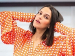 Neha Dhupia Dresses Up In A Bright Orange Skirt Set And Makes Working From Home More Joyful And Interesting