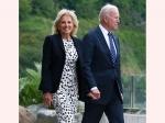 U.S First Lady Jill Biden Wears A Lovely Polka-Dots Dress But It Is The Message On Her Jacket That Is Trending