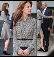 Kate Middleton Dons Bangs In Houndstooth Ralph Lauren Shirt Dress