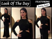 Look Of The Day: Sunny Leone's Edgy Black Dress Is The Perfect Party Outfit