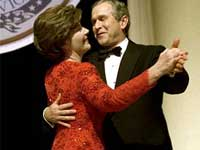 President George W. Bush and Laura at the Ronald Reagan buildings Inaugural Ball on January 20, 2001