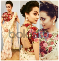 Trisha Krishan Goes Floral In Varun Bahl Saree At Thoonga Vanam Trailer Launch