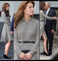 Kate Middleton Dons Bangs In Houndstooth Ralph Lauren Shirt Dress