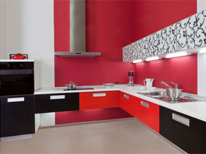 Red Color Kitchen
