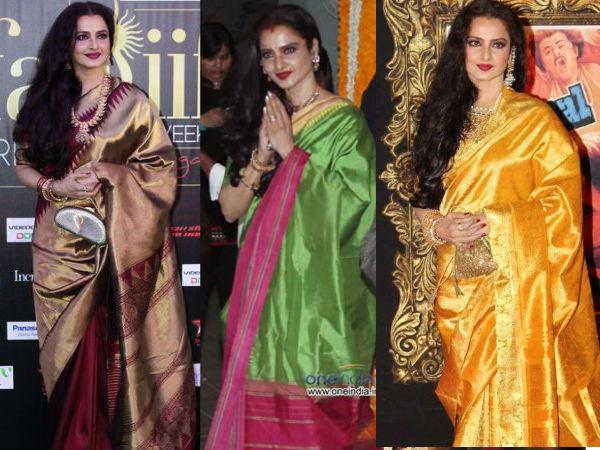 dc26cf56da3d46 10 Gorgeous Rekha Silk Sarees We Love! - Boldsky.com