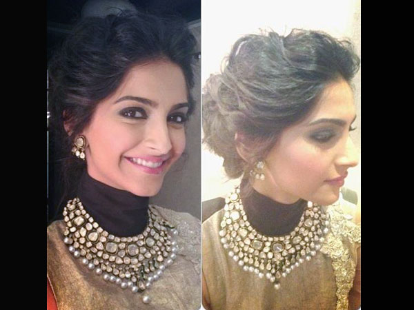 Bun Hairstyles To Steal From Sonam Kapoor Boldskycom - Side bun hairstyle indian