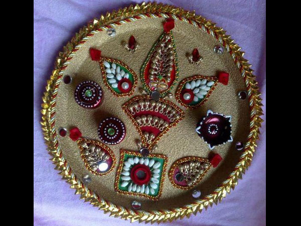 Navratri aarti thali decoration ideas for Aarti plate decoration