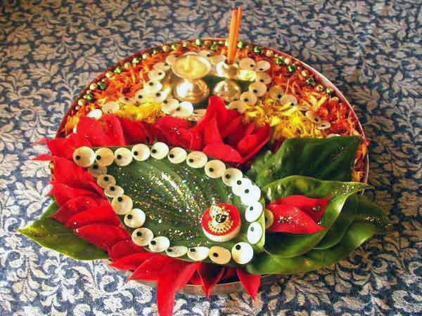 Navratri aarti thali decoration ideas for Aarti thali decoration ideas for ganpati