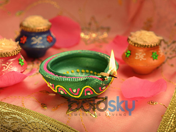 Colourful Diyas For Diwali Decorations Array