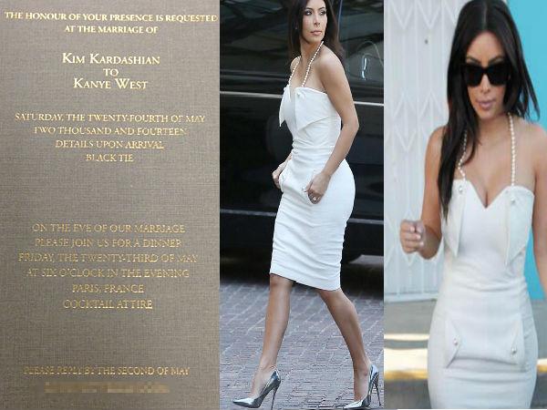 Kim Kardashian & Kanye West Wedding Invitation - Boldsky.com