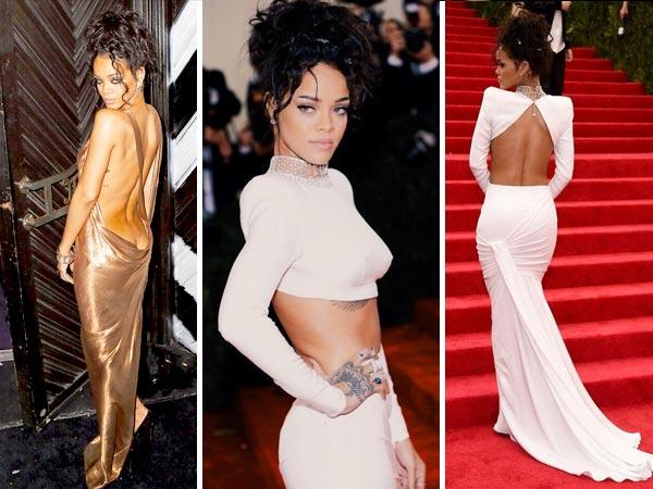 Rihanna's Backless Act At Met Gala 2014