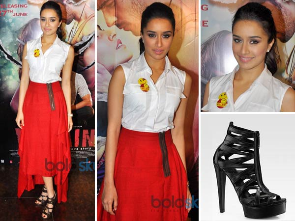 de46fcbc0 Red Payal Khandwala Skirt & Gucci Sandals. Shraddha looked stylish in a ...