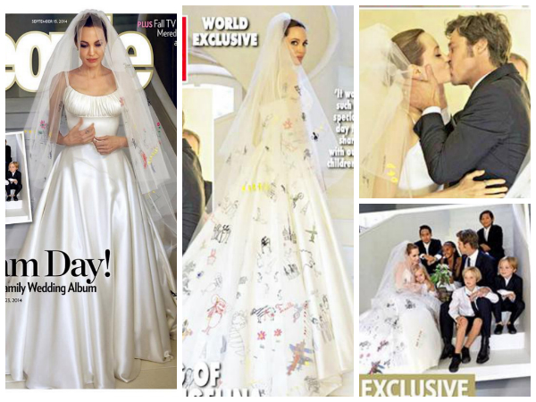Angelina Jolie In Her Wedding Dress: Pics - Boldsky.com
