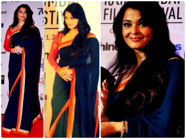 Aishwarya In Blue Sabyasachi Saree - Boldsky.com