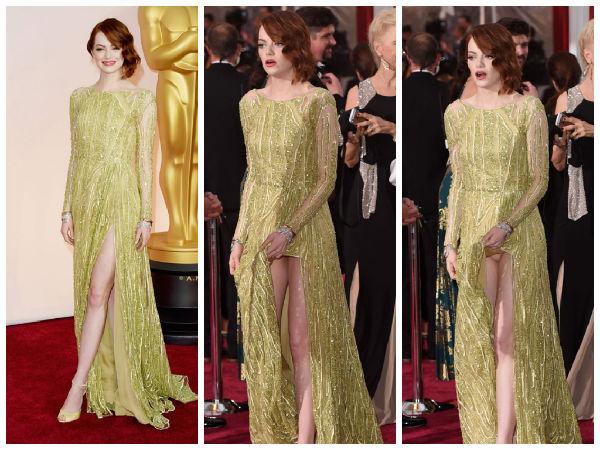 Oscars 2015: Emma Stone Faces A Wardrobe Malfunction