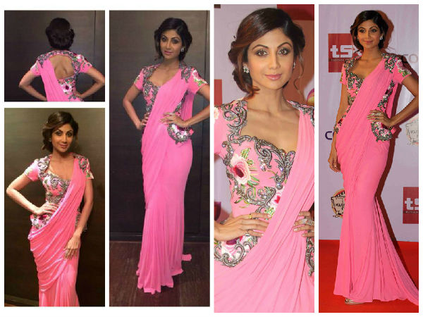 Shilpa Shetty Loves The Saree Gowns