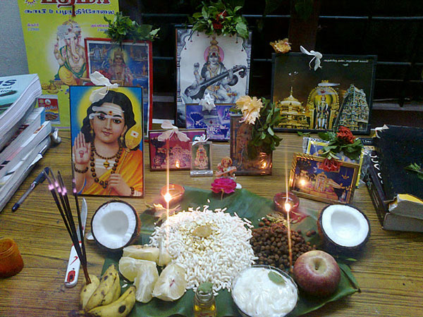 Performing Ayudha Pooja