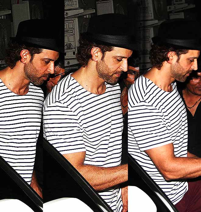 Hrithik Roshan In Striped T-shirt And Maroon Pants