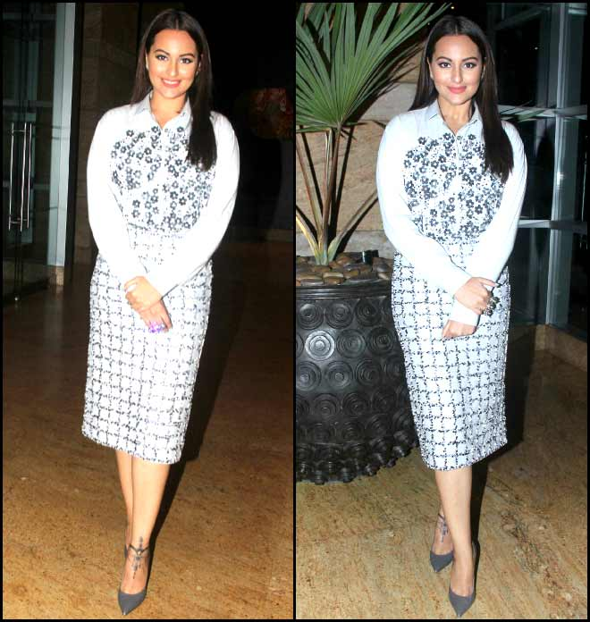 Sonakshi Sinha Sizzles In Gray Check And Floral Ensemble