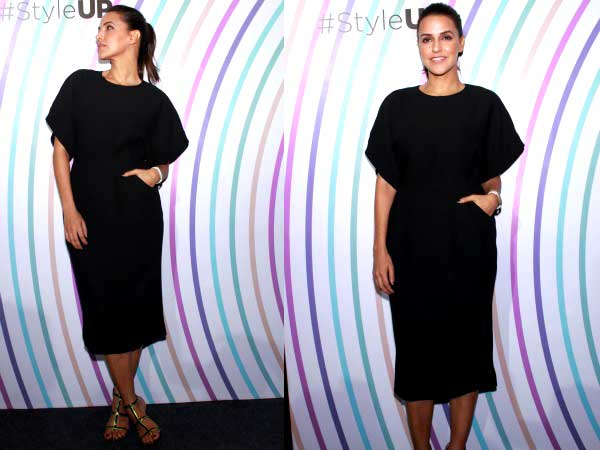 Hot And Sizzling Neha Dhupia In A Black Dress
