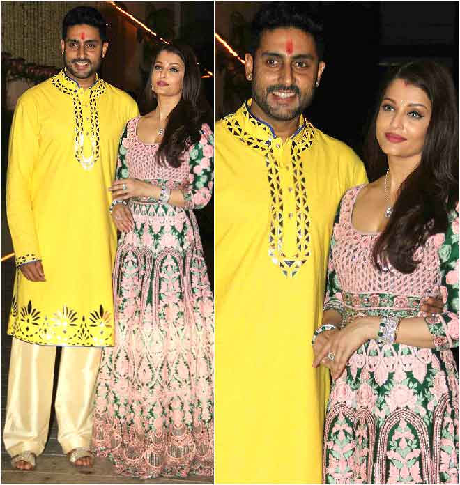 Aishwarya Rai Donning An Intricate Manish Malhotra Gown At Her Diwali Party